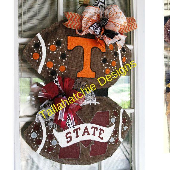 Tennessee Burlap Football Door Hanger House Divided Football Football Door Hanger Collegiate Tailgating Hand painted Door Hang