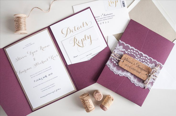 Vintage Winery Wedding Invitation Suite Lace by RebeccaGreenDesign