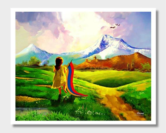Armenian Art, Mount Ararat, Armenian Children, Armenian Flag, Art Prints, 8x10 Prints, Art Print, Armenia Art, Digital Art, Children Art