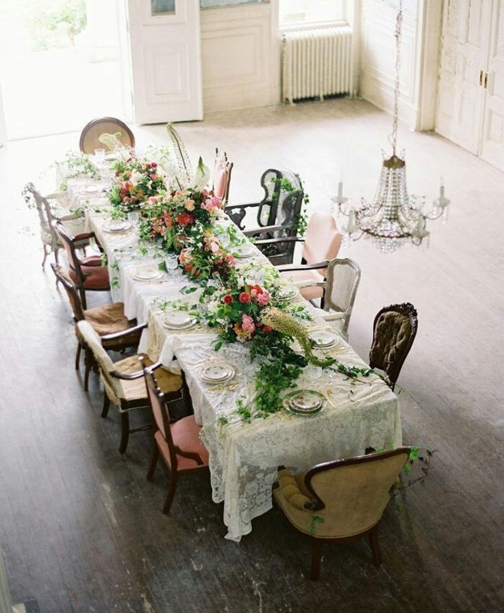 floral eclectic table setting