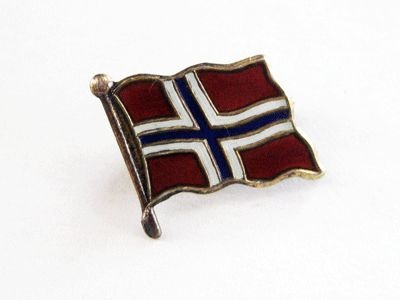 Vintage Sterling Enamel Norway Flag Aksel Holmsen Pin Brooch from quick-red-fox on Ruby Lane