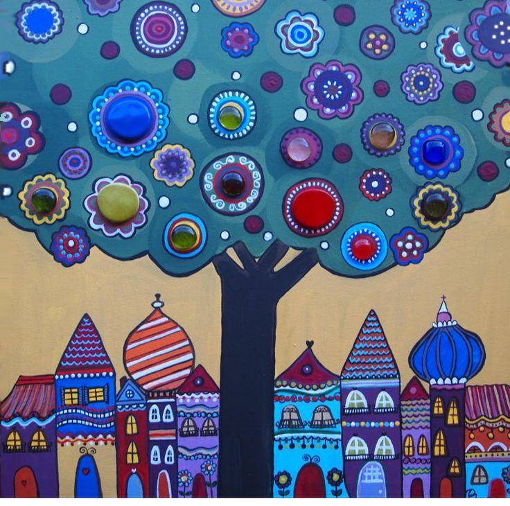 Árbol con piedras decorativas