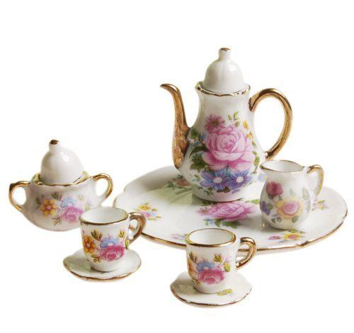 Dollhouse Miniature Dining Ware Porcelain Dish/Cup/Plate Tea Set---Pink Rose CP | Dolls & Bears, Dollhouse Miniatures, Cookware & Tableware | eBay!