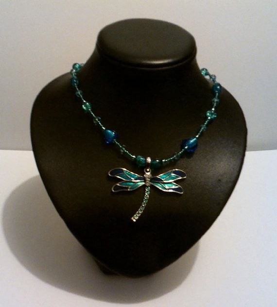 Handmade for you by J of Jcre8tions: Large Turquoise Blue Dragonfly Glass Beaded Necklace $60 on etsy. Free Australia wide postage use coupon MERRYCHRISTMAS at checkout
