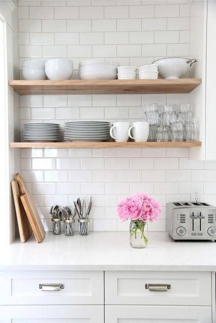 White subway tiles kitchen open shelving