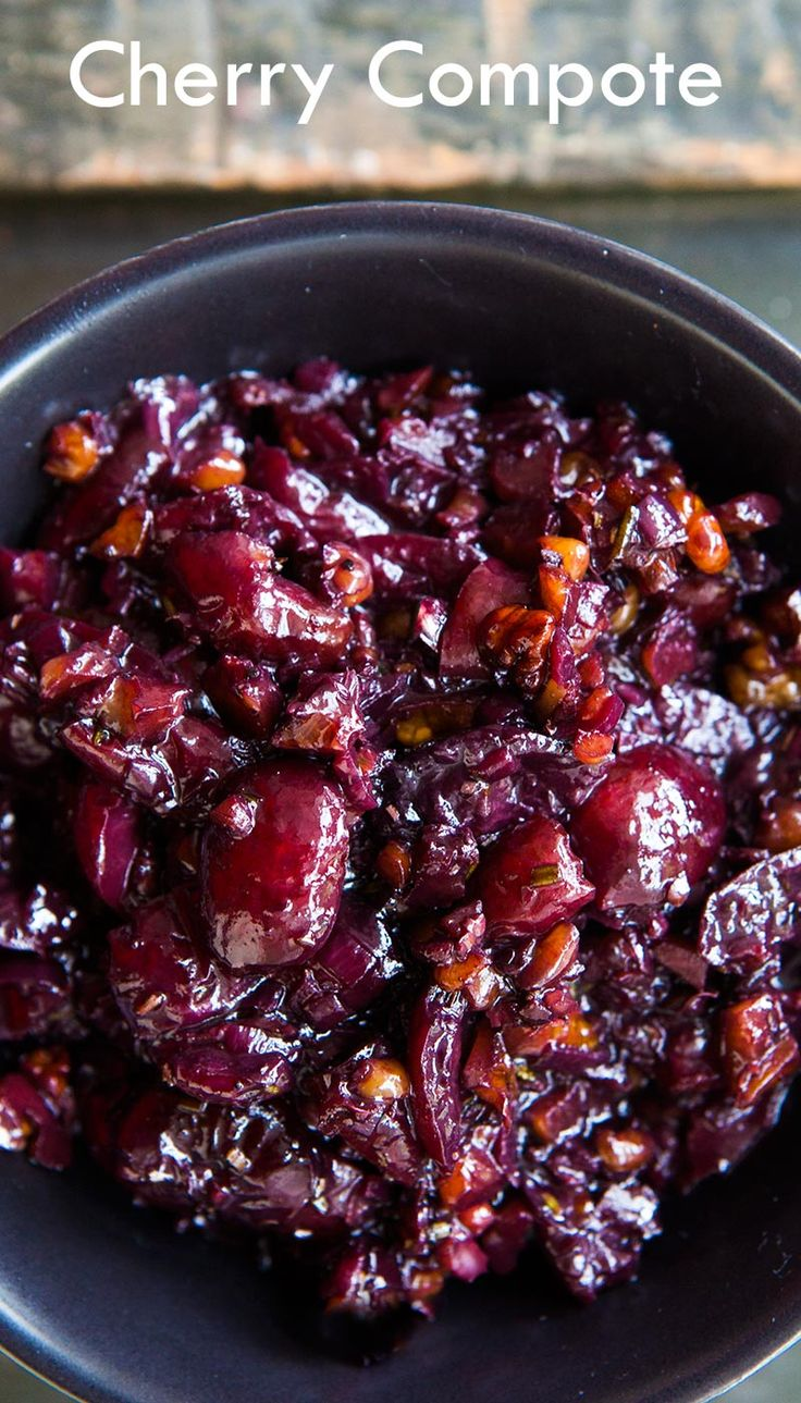 Have cherries? This savory cherry chutney-like compote is perfect with pork, chicken, or duck! On SimplyRecipes.com