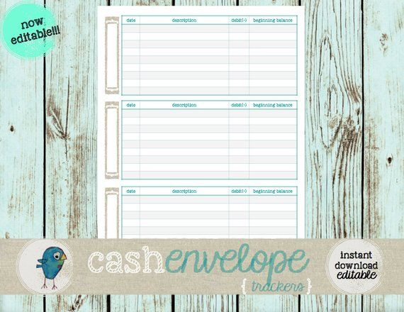 Cash Envelope Trackers: Instant Download/EDITABLE & Printable