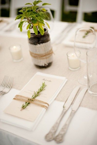 I love the use of herbs & natural textiles such as string & hessian, teamed with crisp white linen, its hard to go wrong x