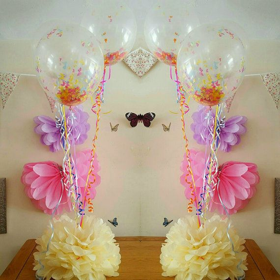large Wedding party baby shower christening balloon weights,table centrepieces  decorations tissue paper pompoms ..balloons not included