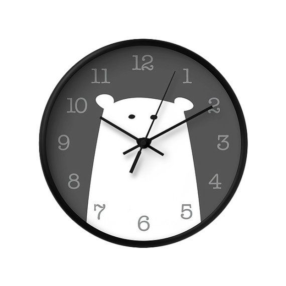 Polar Bear Nursery Wall Clock Polar Bear Wall Clock Polar Bear Clock Monochrome Nursery Black And White Nursery Decor Monochrome Kids Room Wall Clock Kids Wall Clock