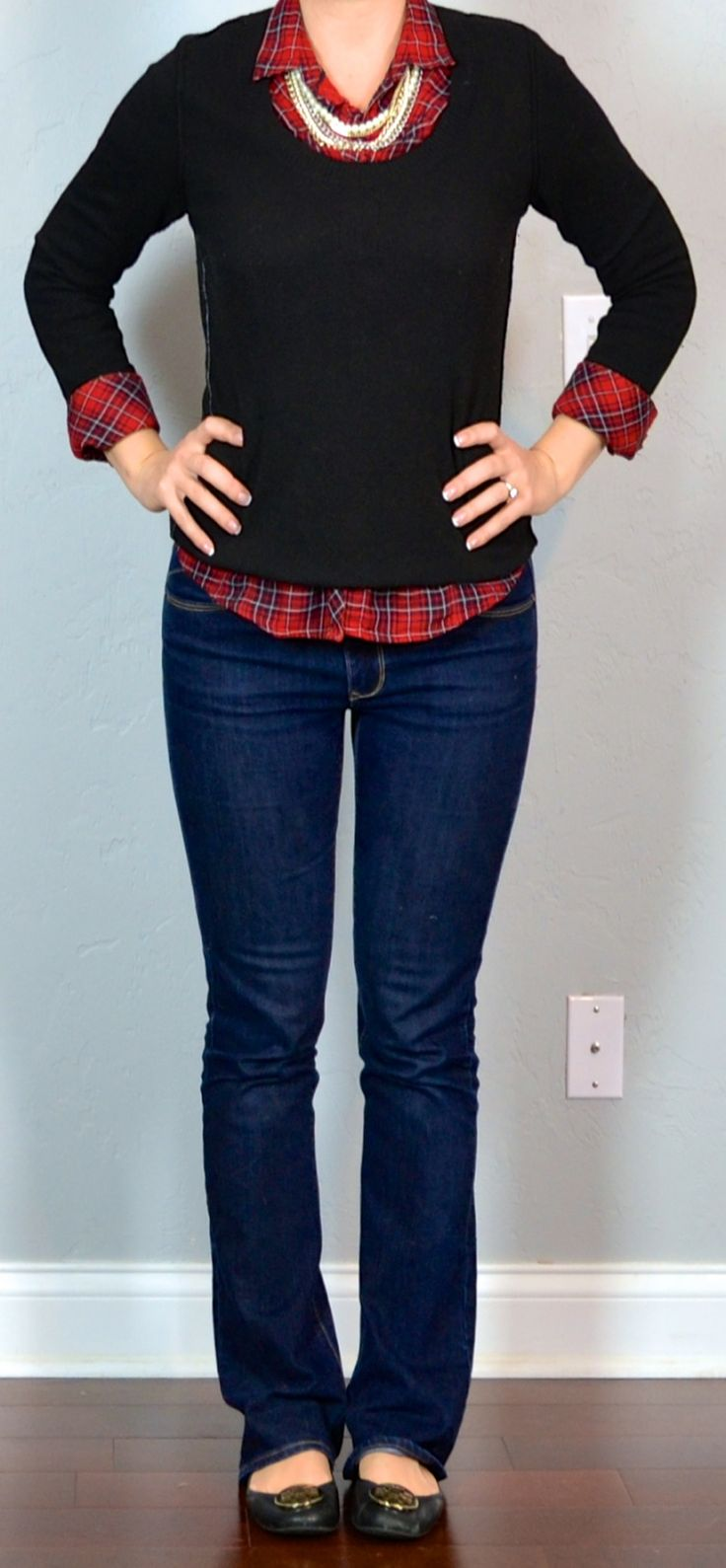 Outfit Posts: outfit post: red plaid shirt, black sweater, bootcut jeans, black flats (cute for holidays)