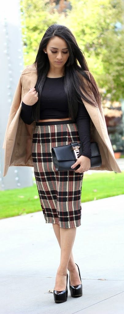 The Plaid Pencil Skirt / MayteDoll