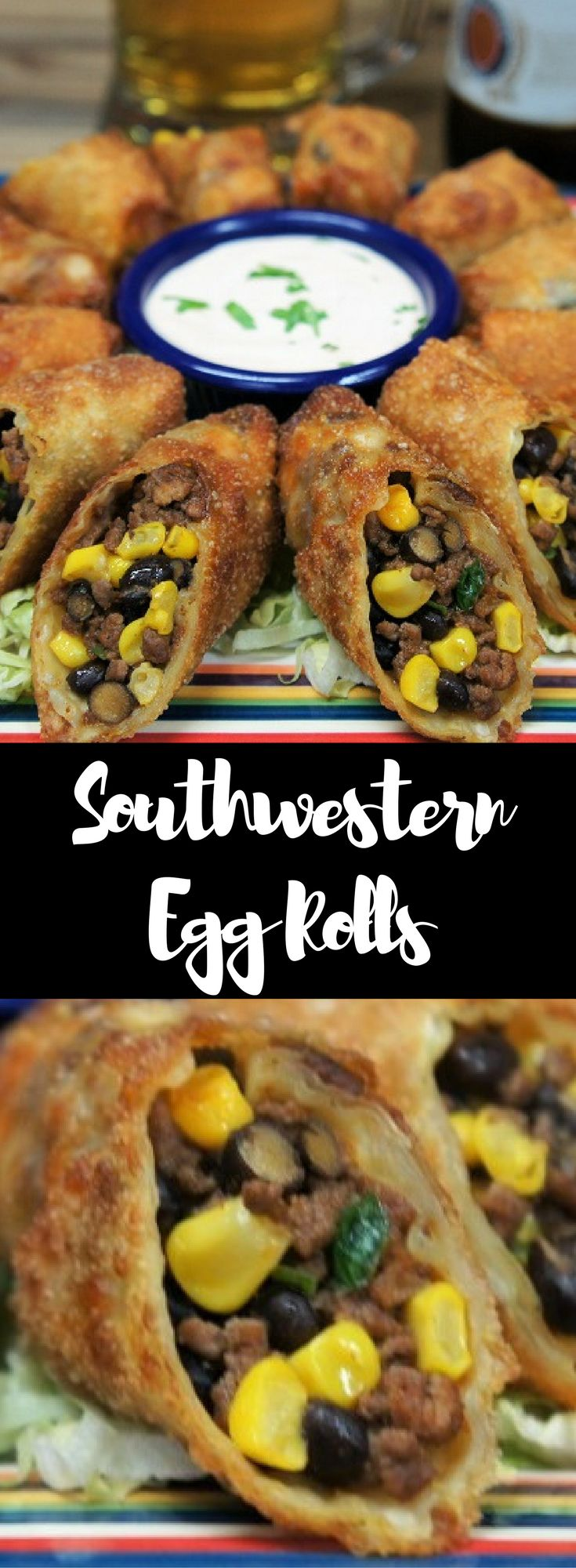 Filled with seasoned ground beef, black beans and corn, these Southwestern Egg Rolls are super flavorful and really easy to make. The filling comes together quickly and we take some help from the market by purchasing the egg roll wrappers. Making the egg rolls is pretty easy too, after rolling two or three, you'll be a pro. These Southwestern Egg Rolls are a perfect appetizer for your game-day spread or cocktail party.