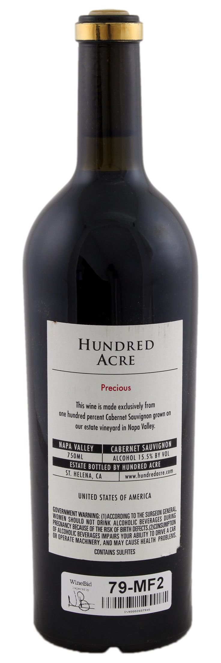 Hundred Acre Precious Cabernet Sauvignon 2005, Red Wine from United States - WineBid