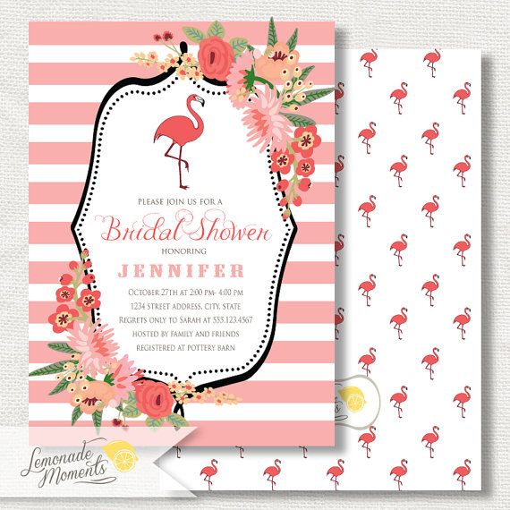 flamingo party invitation bridal shower printable flamingo invite
