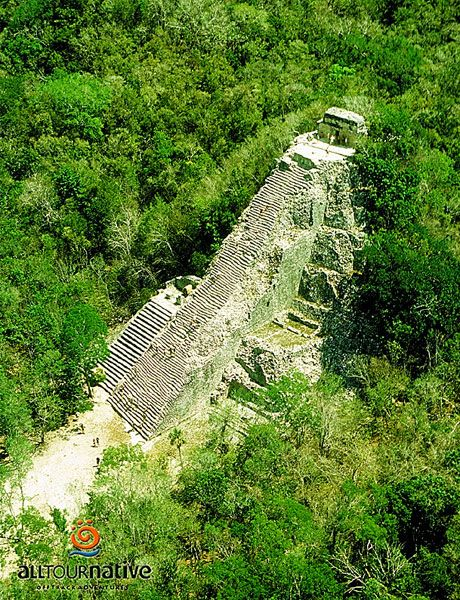 Coba, Mexico. Phil climbed to the top. Sofia & I took a break from the heat.