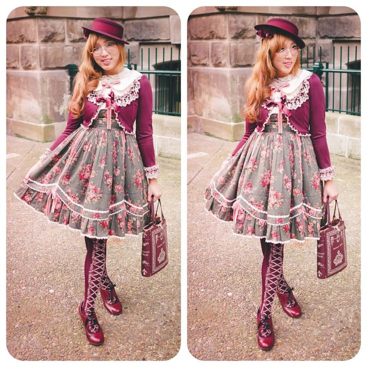 "vysanthe: "" Classic Lolita #ootd, since there were so many weirdos in the city today anyway  neckline is always hard to coord on this dress, but happy to coord wine with olive green successfully! My #innocentworld book bag is genuinely antique now…..."