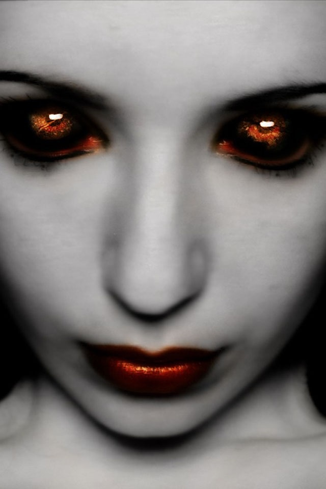 Her eyes are hypnotic... I love the fade from black to red. It looks almost like her eyes are glowing. Imagine seeing that at night.