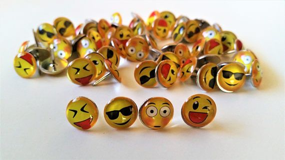 64 Emoticon face metal push pins  yellow emoticon funny thumb