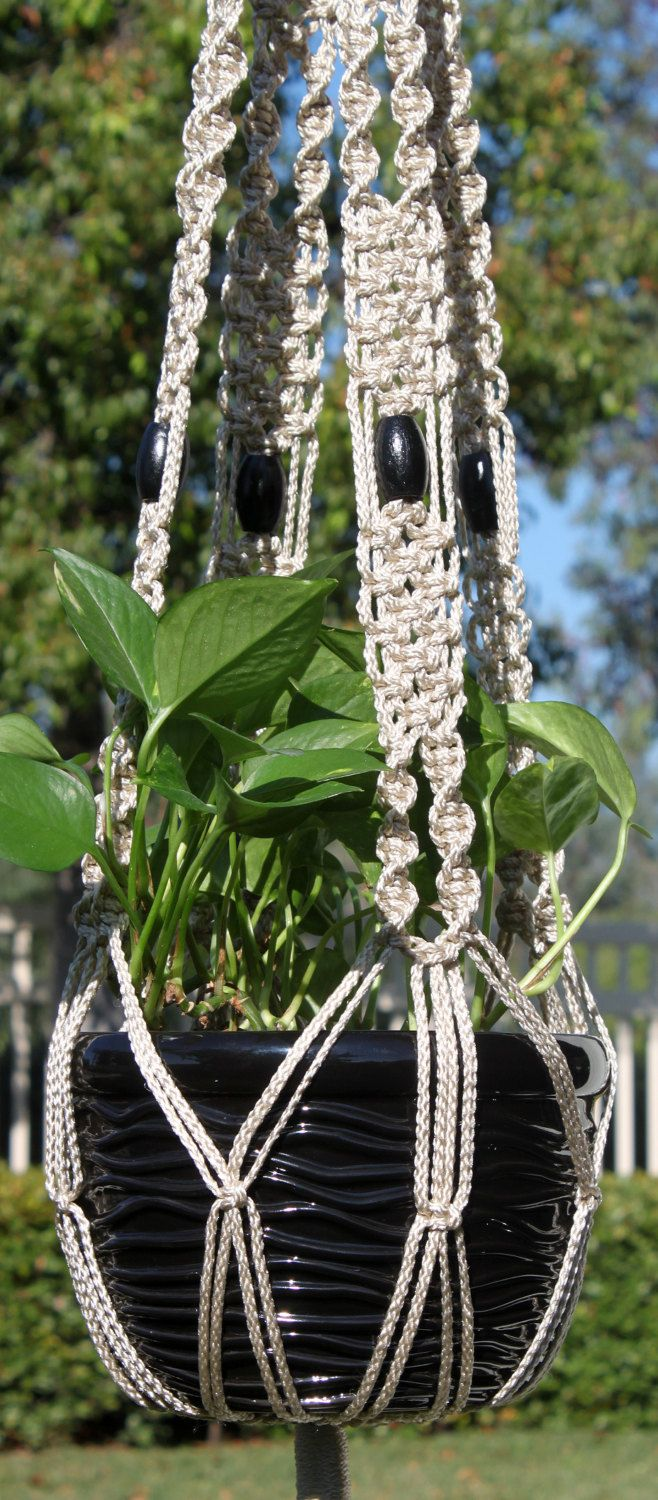 ENCHANTMENT #Handmade #Macrame Plant Hanger Holder In PEARL By  #ChironCreations Via @Etsy