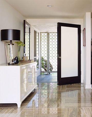 Internal door, white frame