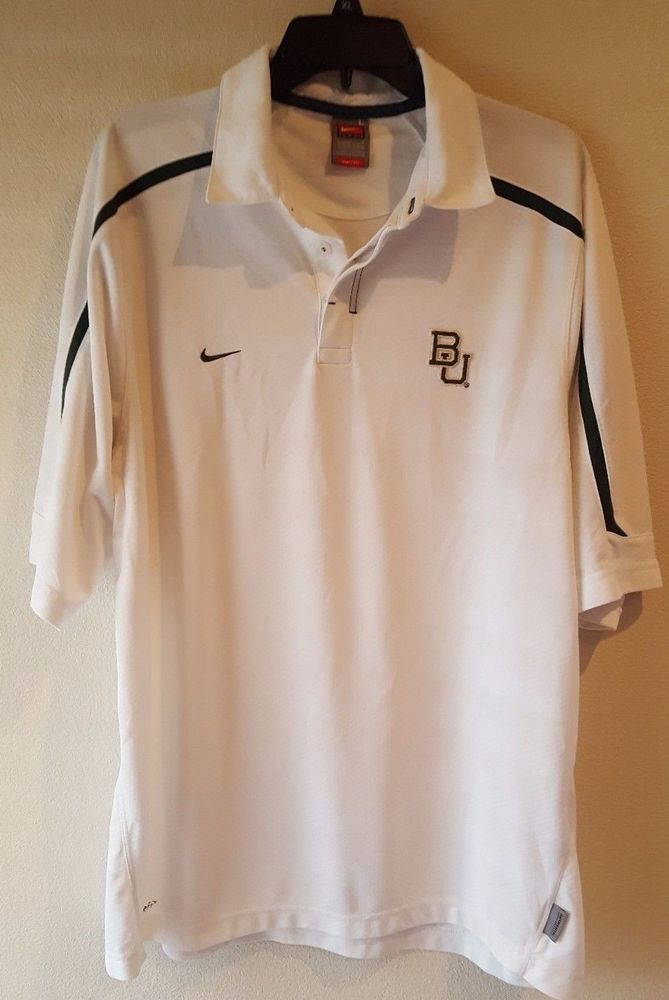 Baylor University Authentic Men's Nike Fit Dry White Green Polo Shirt Size Large #Nike #BaylorBears