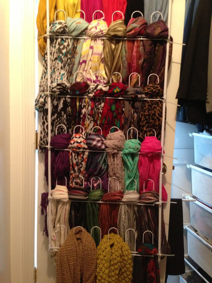 With scarves as one of my main winter accessories I need to organize. Over the door shoe rack = Scarf organizer. Make sure to get the shoe rack without the nonslip..The scarves won't go on &come off easily.