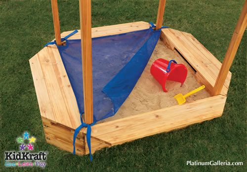 make sandbox cover with ties or velcro at corners