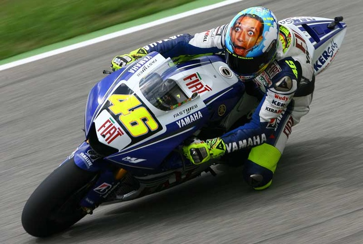 Valentino Rossi and his helmet with his face jajaja