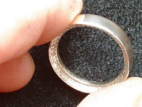 """Ring from a silver 50-cent piece DIY.  Still says """"in God we trust"""" insideDiy Coins, Crafts Ideas, Crafty, Quarter Rings, Silver Coins, Jewelry, Silver Rings, Coins Rings, Engagement Rings"""