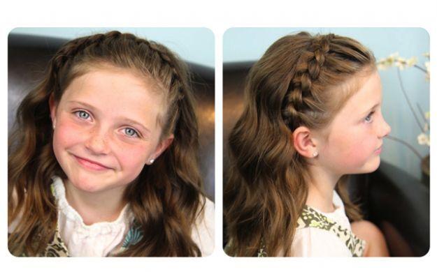 Прическа в школу с волнистыми волосами и плетением ::: onelady.ru ::: #hair #hairs #hairstyle #hairstyles