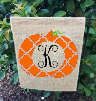 Pumpkin Monogrammed Burlap Flag / Fall Garden Flag / Personalized Garden Flag / burlap garden flag / fall flag
