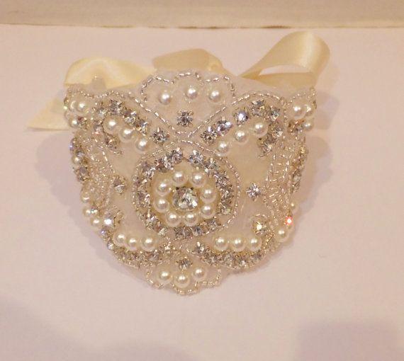 Pearl Rhinestone Bridal Bracelet Rhinestone by BellaCescaBoutique
