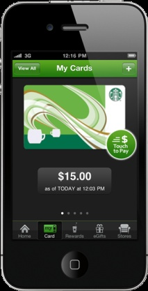 Starbucks App is really cool easy and I don't have dig out cash or a credit card
