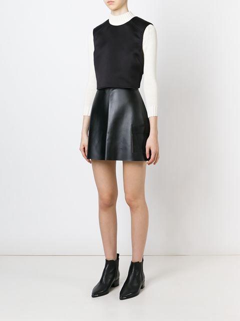 Msgm Patch Pocket Faux Leather Skirt - - Farfetch.com