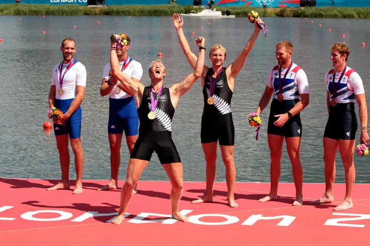 New Zealand's Hamish Bond and Eric Murray winners of Olympic Gold in the Rowing pairs in London 2012