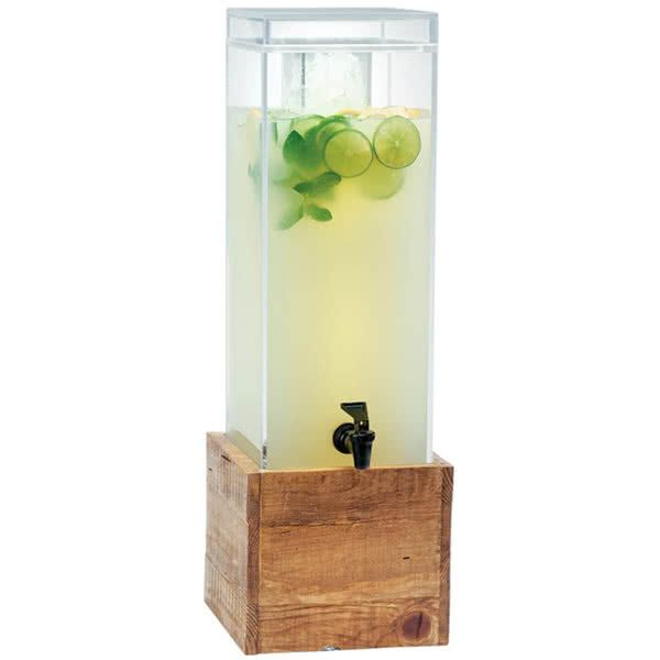 Ensure that your cool, refreshing beverages look and taste their best with this Cal-Mil 1527-3-99 Madera reclaimed wood 3 gallon beverage dispenser! Fill this dispenser's middle chamber with ice to ensure that your beverages remain chilled without diluting them with melted ice. Thanks to this dispenser's clear acrylic construction, your guests will have a complete view of your colorful beverages. In addition, your staff can easily see when the drinks are running low and need to be ref...