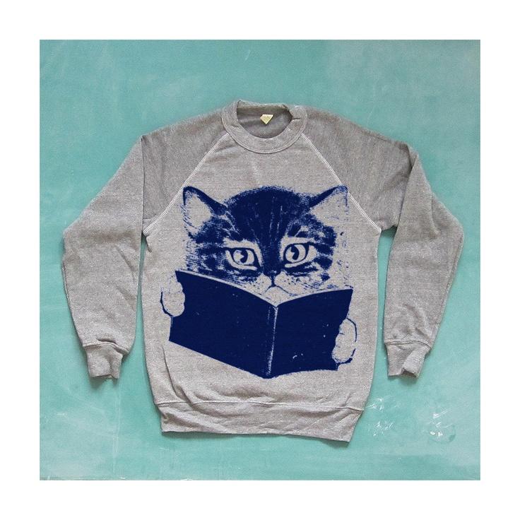 FURST EDITION sweater. cat sweatshirt. grey.. $48 BY KINSHIP PRESS #tee #cat #women