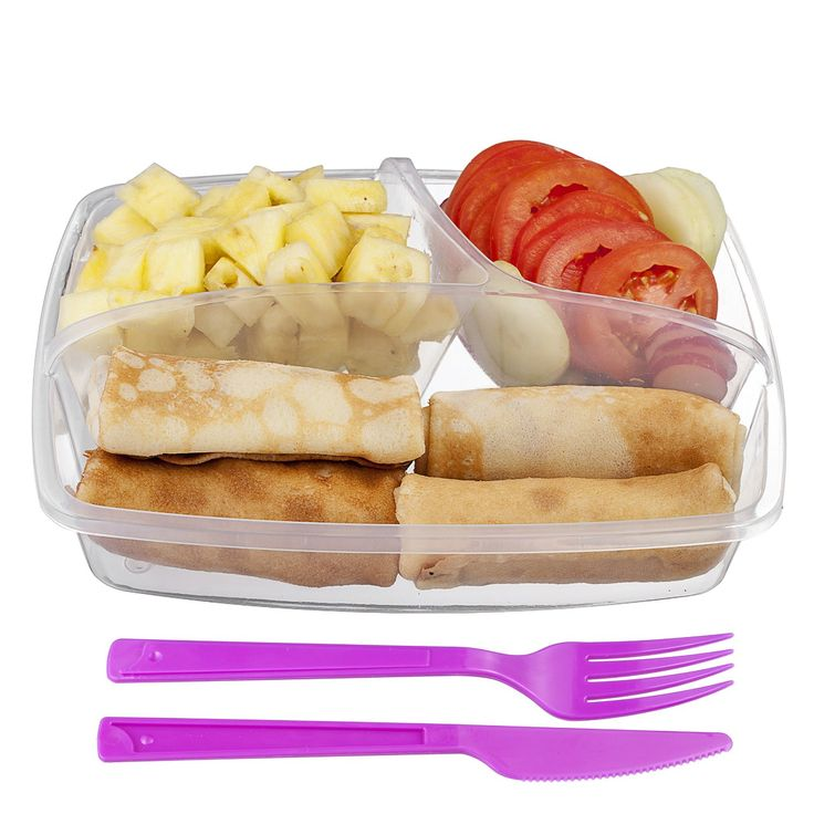 Pink and Fresh! Food Container with Lid and 3 compartment