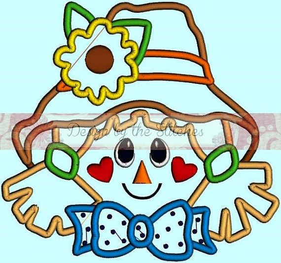 Scarecrow Applique Fall Applique INSTANT by DesignByTheStitches, $4.99