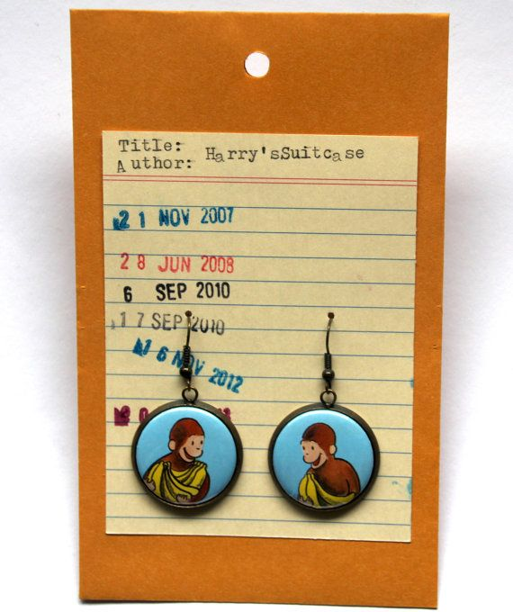Curious George Earrings Margret and H.A. Rey by HarrysSuitcase