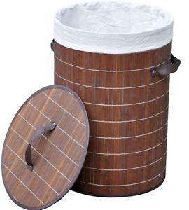 Laundry Basket Storage Bathroom Solution Bamboo/Fabric Tall Light Weight Stylish   eBay