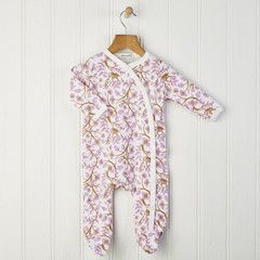 Baby girls pink romper In a swirl of birds and leaves our babygrow is the perfect autumn outfit Team with our matching knotted hats £19.00 Free delivery to mainland UK #pinkromper #babygirl