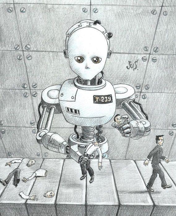 Robot Storybook Jus34 Colourpencils Drawing Illustration