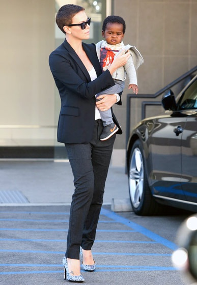 Charlize Theron carried her son Jackson, 12 months, in Beverly Hills.