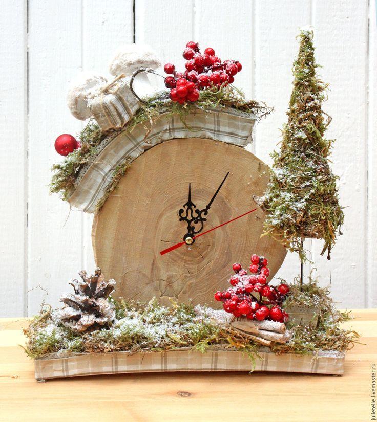 Купить Зимние часы - бежевый, настольные часы, новогодний декор, украшение дома, оригинальный подарок
