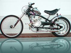 Bicycle chopper with motor.