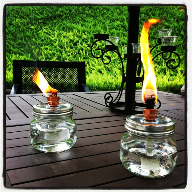 My first pinterest worthy project mason jar citronella for Alcohol fire pit