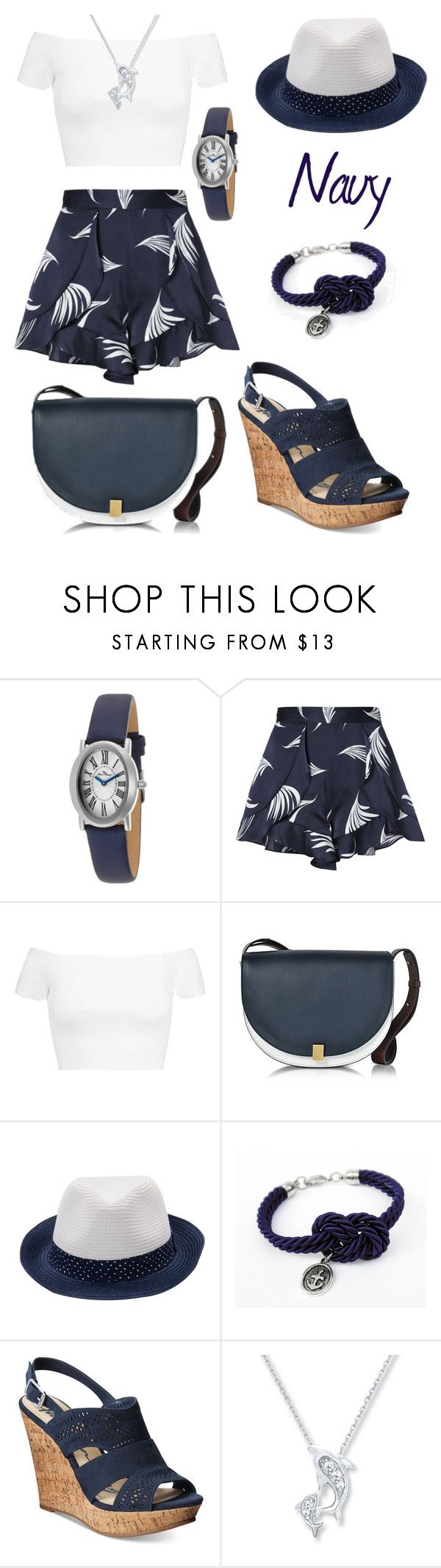 """""""Let's sail away! -Navy blue"""" by prettyfashionist ❤ liked on Polyvore featuring Lucien Piccard, C/MEO COLLECTIVE, Alice + Olivia, Victoria Beckham, Antony Morato and American Rag Cie"""