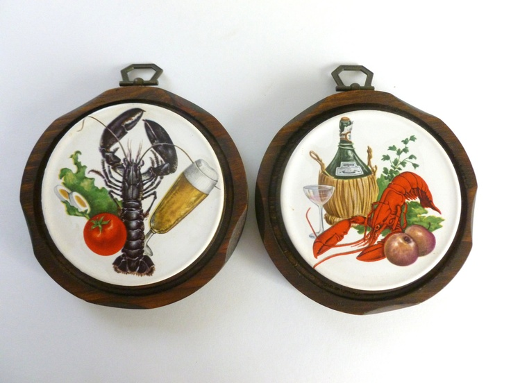 2 Vintage Lobster Seafood Ceramic Tiles On Wood Art Wall Hangings Retro  Beach Nautical Kitchen Decor